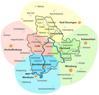 Karte Würzburg Und Umgebung.Freizeit In Main Spessart